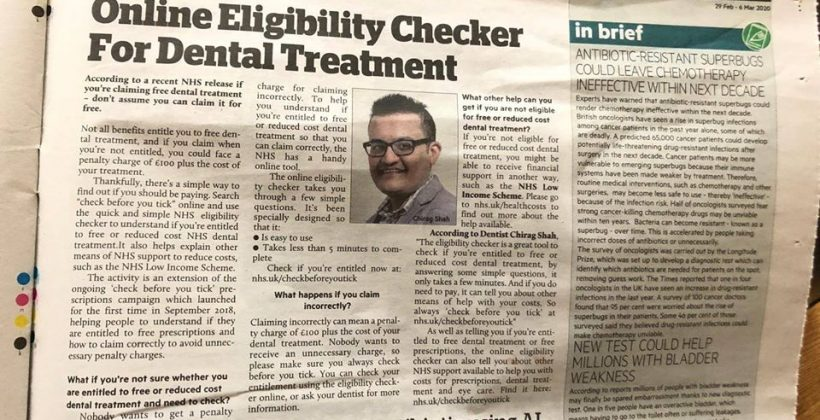 Our Principal Dentist Features in the Asian Voice Newspaper